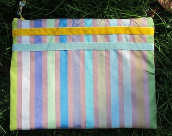 Tablet in fleece coated canvas cover.