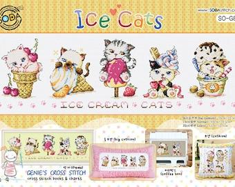 Ice Cats - Cross stitch pattern leaflet. Big Chart. SODA SO-G82