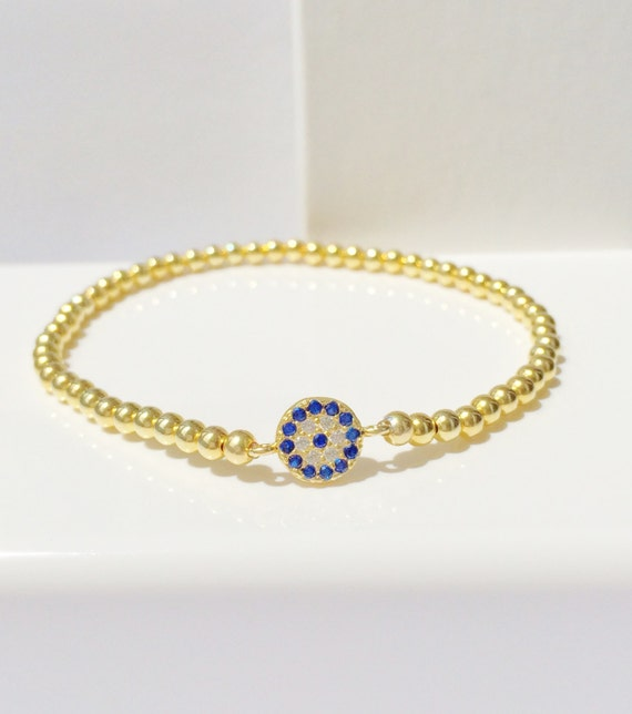 evil eye bracelet REAL gold plated sterling silver and cubic zirconia SALE PRICE