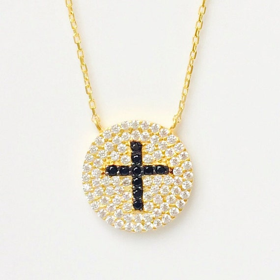 Cross Necklace in Gold Plated .925 Sterling Silver and Zirconia • Safe to Get Wet • A Beautiful Gift at an Affordable Price