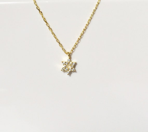 star of david necklace gold plated sterling silver. tiny minimalist necklace perfect for kid's and adults, cubic zirconia