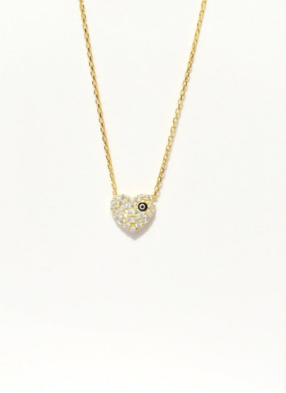 Heart Necklace, With Zirconia And an Evil Eye, A Unique Loving Gift to Protect Over Her • Can Get Wet • Sure to Get Adoring Smiles.