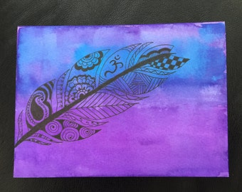 Henna Greeting Card - Boho Feather Ombre