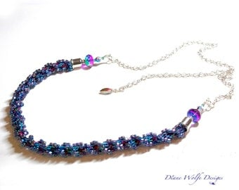 Kumihimo beaded necklace for purple lovers