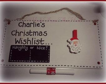 Personalised Christmas Wish List Plaque