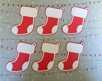 20 Christmas Stocking Gift Tags, Holiday Gift Tags, Holiday Die Cuts, Christmas Gift Tags