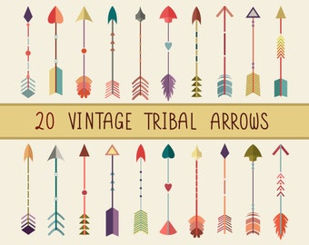 Vintage Tribal Arrows Clip Art - Set of 20 300 DPI PNG, JPG, and Vector Files