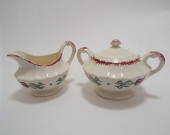Vintage floral cream and sugar set