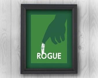 Rogue, X-Men, Marvel Comics, movies, MCU, mutant, superheroes | Minimalist Pop Art | Canvas Wall Decor, Prints, Stickers, Drink Coasters