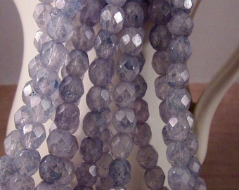 BLUE STEEL 6mm Luster Stone Blue Firepolish Faceted Round Czech Glass Beads - Earthy Rustic Stone Dusty Blue Gray - Qty 25 (6-162)