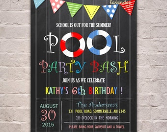 Chalkboard POOL PARTY Bash Invitation, Colorful Birthday Party, Rainbow Summer Girl Pool Party Invite, Splash Swim, 5th Birthday Printable