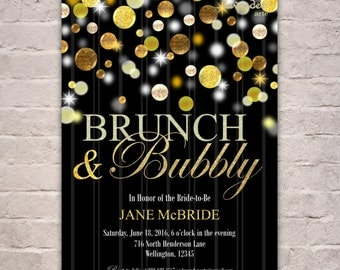 GOLD BRUNCH & BUBBLY Couples Shower Invitation, Champagne Bridal Brunch Invite, Gold Bubbles Glitters Wedding Luncheon, Printable Digital