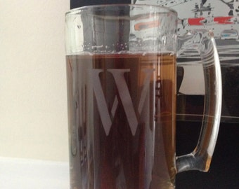 Personalized Initial Glass Beer Mug