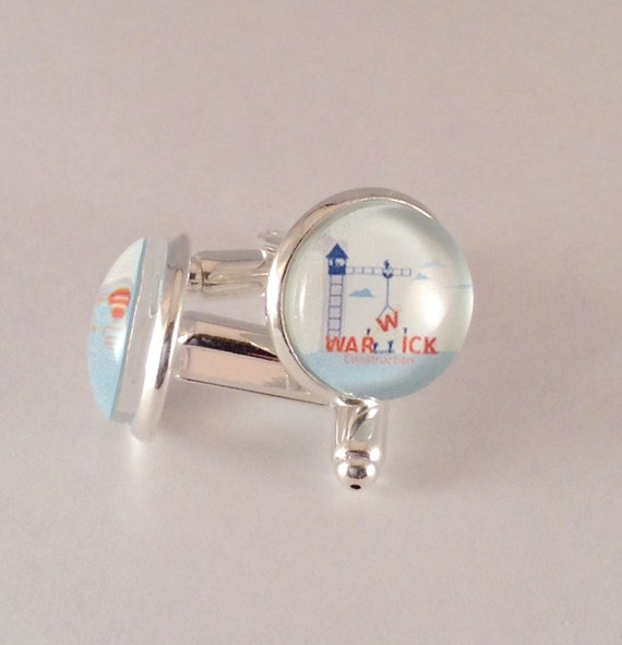 Warwick Cufflinks in silver tone metal,  14 mm, with Blue velvet gift bag! JW.ORG. #406
