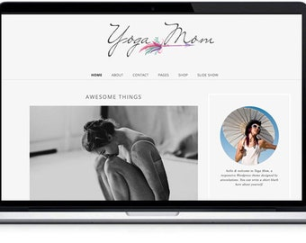 WordPress Template - Mobile Responsive Design, shop template, website template, yoga wordpress theme -elegant wordpress theme