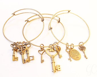 Steampunk inspired jail key brass look bracelet stackable bracelets! Set of 3!