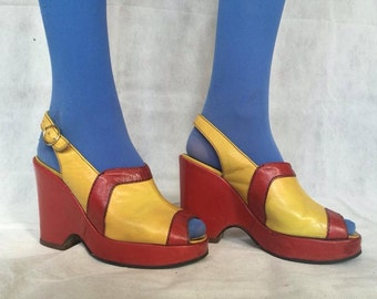 Vintage 1970's Rare Leather Platform Slingback Open Toe Block  'McDonalds' coloured Yellow and Red Sandal Wedges Glam Mod Hippy > UK3