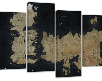 "Game of thrones/map/set of 4 new split canvas prints/ 32""x 20"""