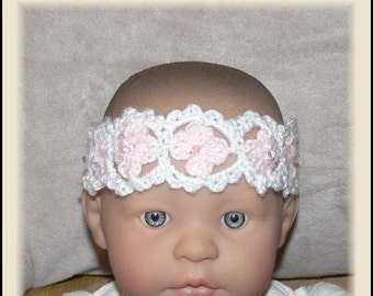 Newborn Baby-Adult Crocheted Pink n White Flower Headband with Swarovski Crystal Clear AB Beads