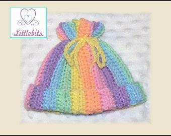 Newborn Baby Crocheted Rainbow Pastels Drawstring Beanie
