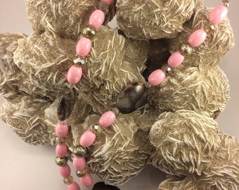 Light pink barrel bead necklace with Australian Outback Jasper