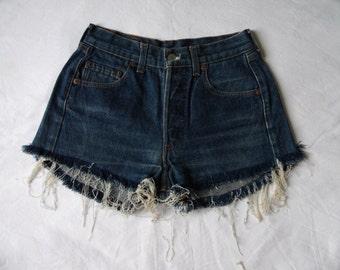 High waisted shorts, vintage Levis 501 blue denim jean shorts, cut off frayed hotpants, waist 26 X Small