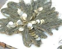 Antique handmade gold embroidered, metal sequin leaf applique, French passementerie, millinery, costume design, scrapbook, decoration