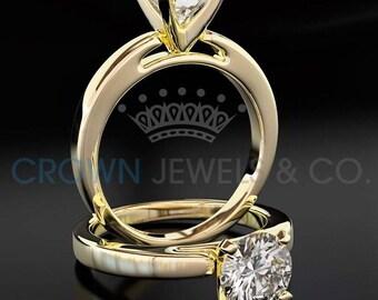 Solitaire Diamond Engagement Ring 18 Karat Yellow Gold F VS2 Round Brilliant Cut 1.00 Carat Women Diamond Ring
