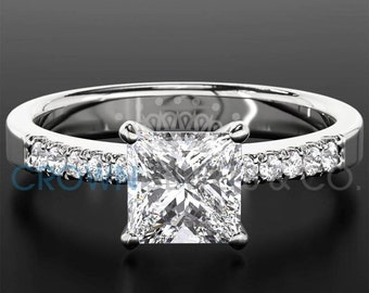 Ladies Engagement Ring 0.6 ct Princess Cut Diamond D SI1 Solitaire With Accents Wedding Ring In White Gold Setting