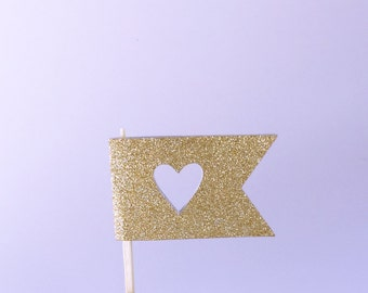 Gold Heart Flag Cupcake Topper-Gold Heart Decor-Gold Flag-Set of 12