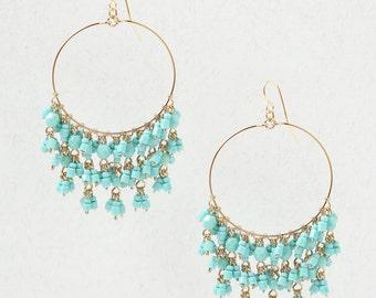 Turquoise Chandelier Hoop Earrings
