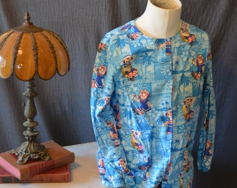 Vintage Long Sleeve Rageddy Ann and Andy Medical Smock Scrubs (Size: Small)