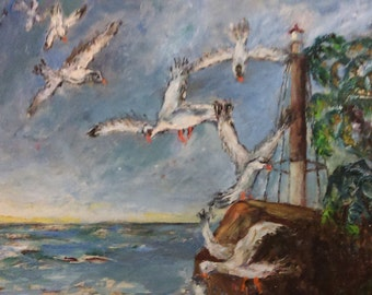 "Vintage Seagulls at Sea Signed Oil Painting 18"" x 24"" Unframed"
