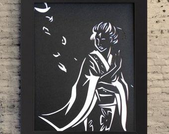 "8.5x11"" Geisha Paper Cutout, Paper Cutout Illustration, Geisha Gift, Minimalist Geisha Art, Geisha Wall Art,"