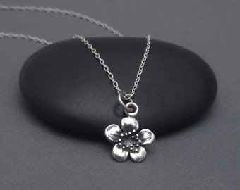 Tiny Flower Necklace Sterling Silver Cherry Blossom Necklace