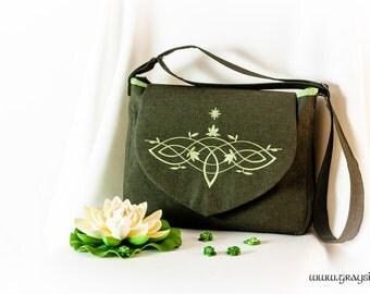 Elvish Crossbody Shoulder Bag With Flap - Elvish Flower Athelas Navy Blue, Gray-Green
