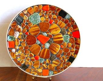 Mid Century Modern Large Mosaic Tile Platter 1960's MCM Tray Home Decor
