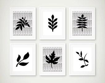 Leaf Art Print Set of 6 - Minimal Decor - Botanical Art  - Set of 6 Prints