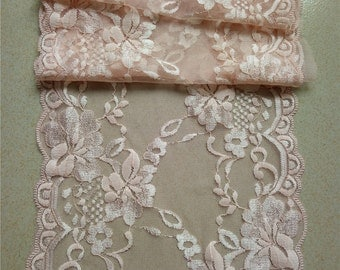 "Blush pink lace runner, 8"" ,wedding table runner , lace table runner,  wedding runners, lace table runner  R15051103"
