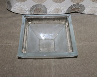 Vintage Clear Glass and Frosted Glass Square Bowl For Decorative Use, Centerpiece w Fruit or Christmas Items in it, This bowl is beautiful!