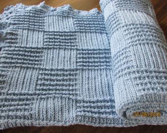 Knitting baby blanket/Bambu baby blanket/Blue baby blanket/Crochet baby blanket
