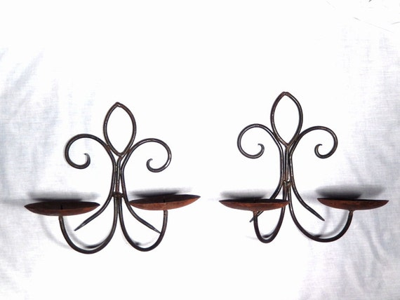 Black Wrought Iron Metal Pair of Sconces by RascalsRarities