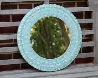 Round Mosaic Mirror - Aqua