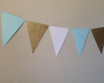 Turquoise, Gold & White Banner | 12 pennants | Turquoise Banner | Gold Banner | Pennant Banner