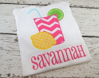 Lemonade shirt, Summer Shirt, Girl's Lemonade Shirt, Personalized Shirt, Custom Shirt, Applique Shirt, Embroidery Shirt, Girl's Summer Shirt