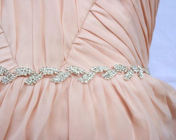 Items Similar To Thin Bridal Belt Crystal Rhinestone Belt