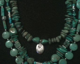 Turquoise Triple Strand With Gemstone, Charms Leather Sundance Style Southwestern Boho Necklace.