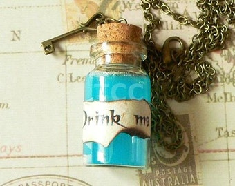 Drink Me Potion Bottle Necklace - Alice in Wonderland Necklace - Drink Me Necklace - Potion Necklace - Steampunk Necklace
