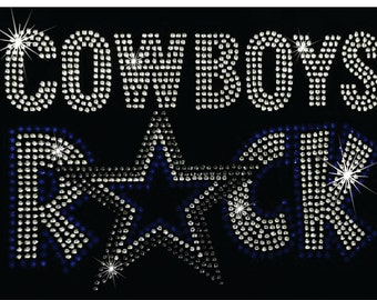 Dallas Cowboys Transfer, Rhinestone Iron On, Cowboys Iron On, Iron on Transfer