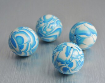 Polymer Clay Beads - Aqua, Turquoise, and Cream - 17mm round - Set of 4